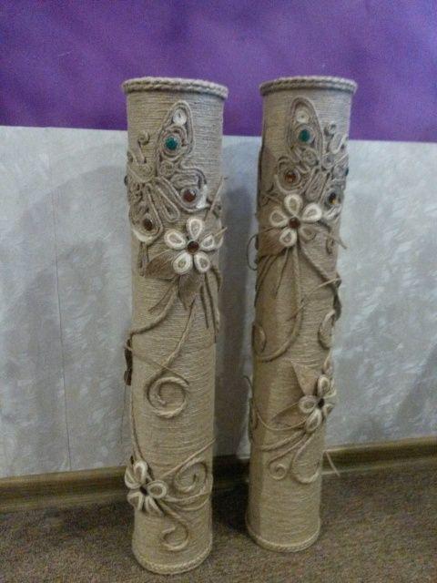 Напольные вазы из джута своими руками