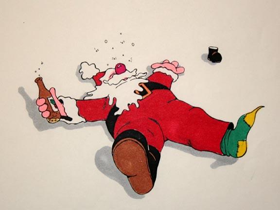 Открытки пьяный дед мороз, открытка